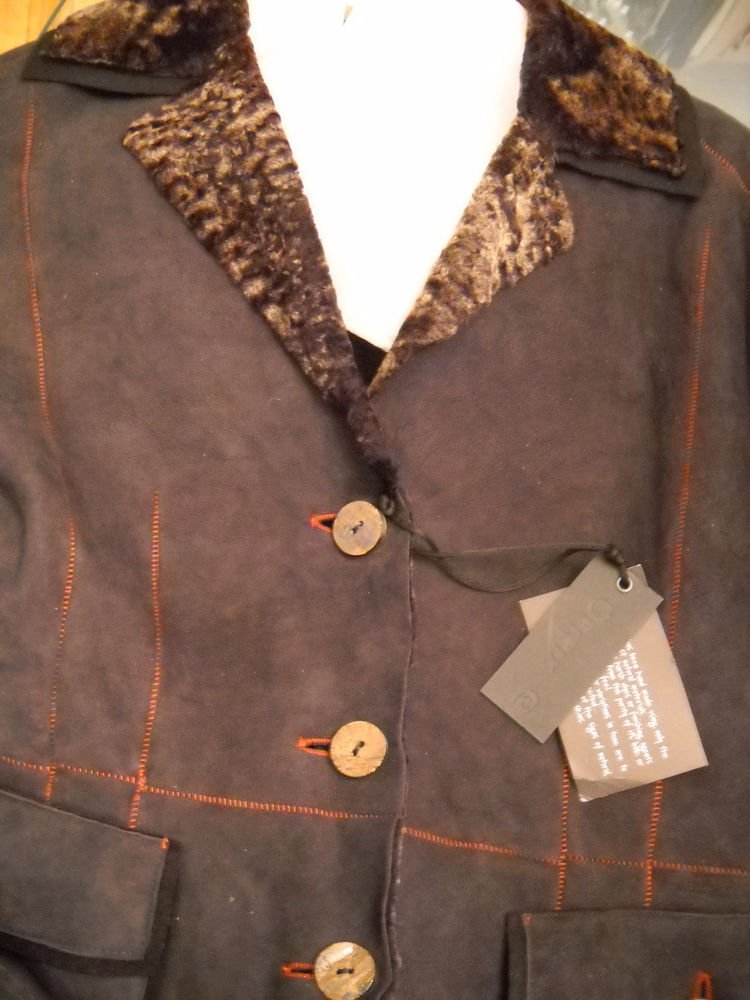 NEW OPIFIX Brown Shearling Jacket - S/M