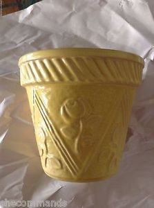 VINTAGE Yellow Floral Planter