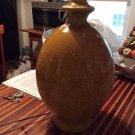 VINTAGE Mustard Yellow Glazed Ceramic Pottery Gourd-Shaped Lamp
