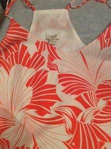 NEW J Crew Racerback Orange Floral Print Slip Dress - 10