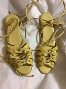 NEW Malone Souliers Lace-up Yellow Sandals - 8