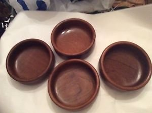 VINTAGE Lord & Taylor Made in Thailand Set of 4 Teak Wood Bowls - 6""