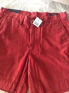 """NEW Ralph Lauren Polo Classic Fit 6"""" Faded Red Chino Shorts - 30"""