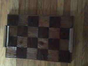 """Large Wood Parquet ServingTray w/ Handles - 15.5""""W x 23.75""""L"""