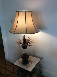 """VINTAGE Wrought Iron Pineapple Table Lamp w/ New RH Silk Shade - 40"""" x 16"""""""