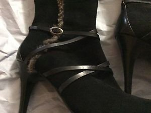 NEW Circa by Joan & David Black Suede Boots w/ Shearling Trim- 7