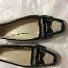 VG CONDITION Attilio Giusti Leombruni BLack Patent Leather w/ Fabric Loafers -37
