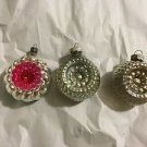 "VINTAGE Set of 3 Assorted Glass 2-Sided Ornaments - 2.5"" Diameter"