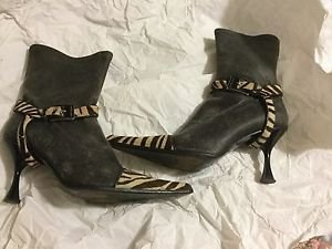 VERY GOOD CONDITION Luciano Padovan Rock Star Boots w/ Cowhide Accents