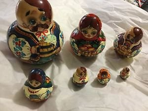 SIGNED 7-Piece Authentic Russian Nesting Dolls