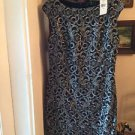 NEW Ralph Lauren Women's Silver Metallic Lace Overlay Cocktail Dress - 10