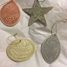 "NEW Mixed Set of 4 Artisan Made Pottery Ornaments - 4""-5"""
