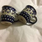 BOLESLAWIEC Zaklady Blue Flowers Pattern Coffee Mug/Cup - 12 oz