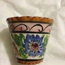 "ANTIQUE Italian Colorful Pottery Flower Pot - 6"" x 5.5"""