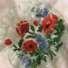 EXCELLENT CONDITION Sydenstricker Red Poppies Fused Art Glass Bowl - 6.75""