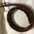 NEW Talbots Braided Brown Leather Belt w/ Solid Brass Buckle - XL