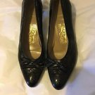 VERY GOOD CONDITION Salvatore Ferragamo Black Tasseled Brogue Pumps - 9.5 AA