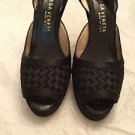 Bottega Veneta Black Satin 'Intrecciato' Woven Open Toe Slingbacks - 35