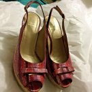 NEW Stuart Weitzman Pink/Purple Snakeskin Print Wedge Sandal - 7M