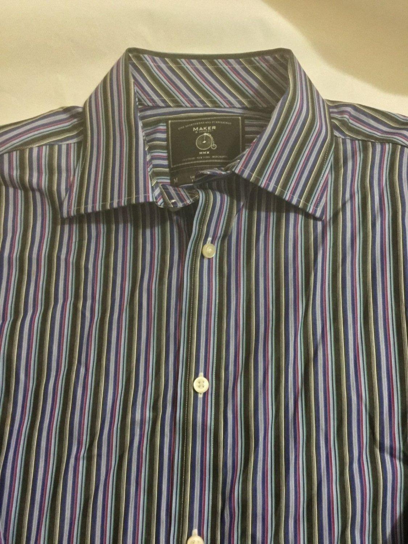 NEW Maker & Company $110 Striped Long-Sleeve Casual Shirt - M
