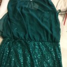 NEW Adrianna Papell Aquamarine Sequin Dress w/ Sheer Top - 12