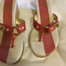 VERY GOOD CONDITION Coach Fauna Orange Patent Leather Thong Cork Wedge - 6.5