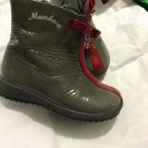 MOSCHINO Toddler Girls Boots Grey Patent Leather w/ Red Bow and Stripe - 22