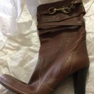 NEW Coach $498 Reiann Brown Leather Boots w/ Toggle Detail - 8M