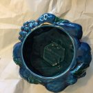 """VINTAGE Italian Pottery Blue-Green Covered Bowl - 8""""W x 9""""T"""