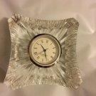"EXCELLENT CONDITION Edinburgh Cut Crystal Bedside Clock - 3"" Square"