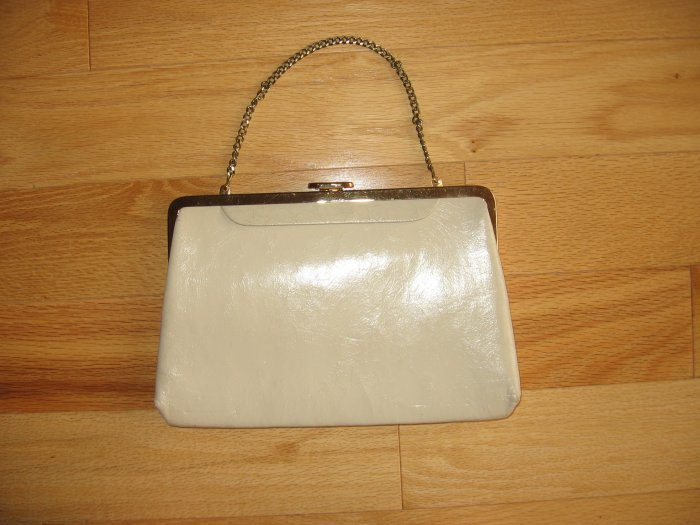 Vintage Eggshell Purse with Chain