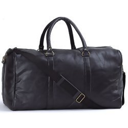 "Embassy Black 21"" Hand-Sewn Pebble Grain Genuine Leather Duffle Bag  Item: LULDUF21"
