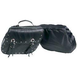 Diamond Plate 2pc Rock Design Genuine buffalo Leather Motorcycle Saddle Bag Set  Item: LUMSET3