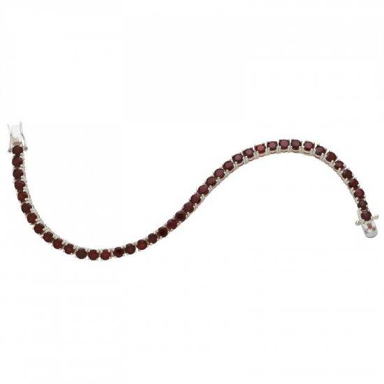 Sterling Silver Bracelet With 42 Genuine Garnets.  Item:  JEBRG3