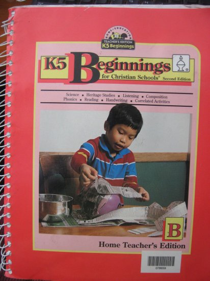 BJU K5 Beginnings for Christian Schools Bob Jones 2nd Edition BOOK B Home Teacher TE