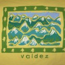 Valdez Alaska AK Mountain Scene Yellow T-Shirt Size Large