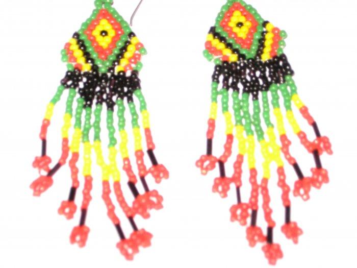 Alaska Native Long Beaded Earrings Multi-Color Alaskan