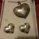 Vintage Sterling Etched and Gold plated puffy heart set Earrings and Necklace