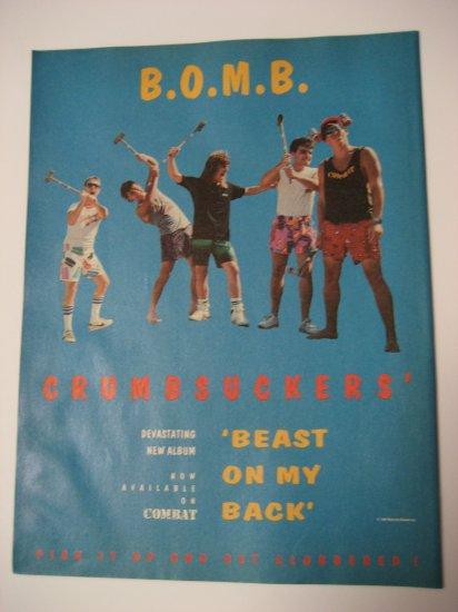Original Crumbsuckers B.O.M.B. Advertisement Rare Vintage
