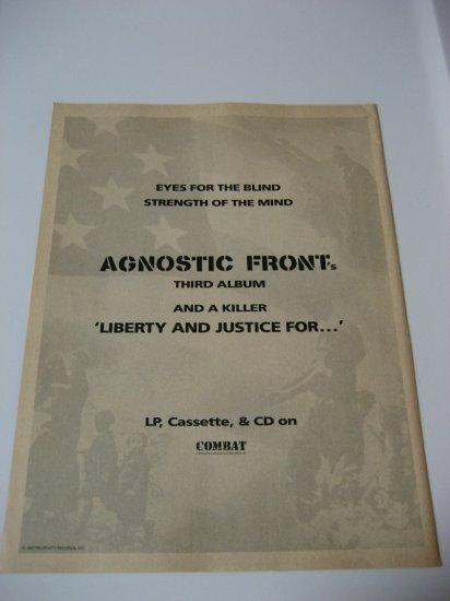 Original Agnostic Front Advertisement Rare Vintage
