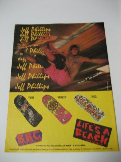 Original Life's A Beach SkateBoard Advertisement Rare Vintage Jeff Phillips