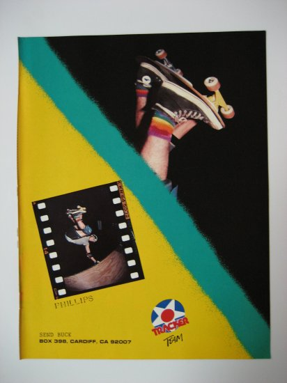 Original Tracker SkateBoard Advertisement Rare Vintage Jeff Phillips