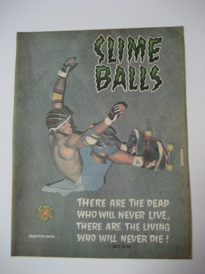 Original Santa Cruz SkateBoard Advertisement Rare Vintage Slime Balls