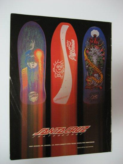 Original Santa Cruz SkateBoard Advertisement Rare Vintage