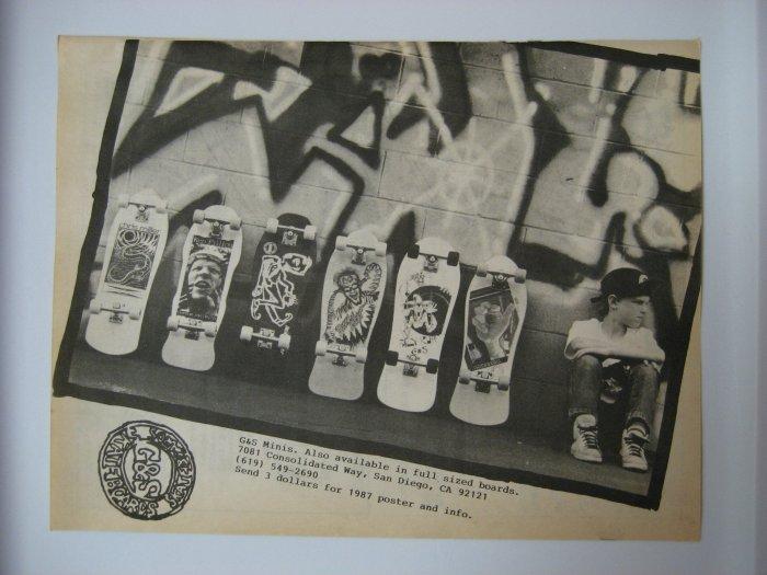 Original G&S SkateBoard Advertisement Rare Vintage
