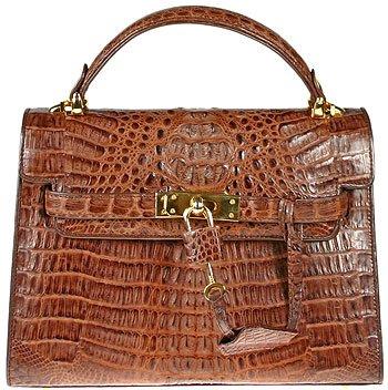 100% Genuine Alligator Brown Handbag