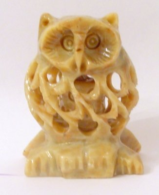 HAND CARVED STONE INSIDE TUMMY BABY FIGURINE OWL 3""