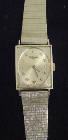 Vintage LONGINES MEN WATCH 14K Solid White Gold Diamond