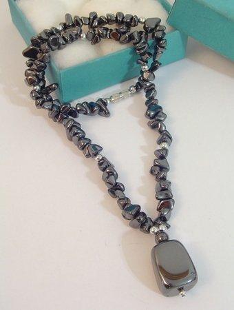 Semi Precious BLACK HEMATITE Pendant Necklace CHOKER