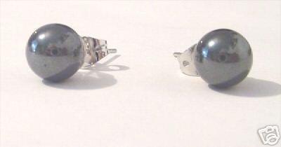 REAL BLACK HEMATITE STUD EARRINGS Beads Balls